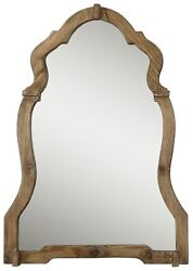 Luxe Rustic Shaped Arch Wood Wall Mirror | Vanity Vintage Style Curved Cottage