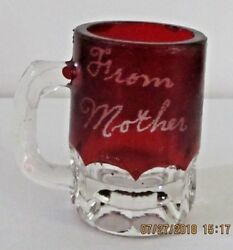 Mini Mug Red Hand Painted 1903 From Mother To Child Collectible