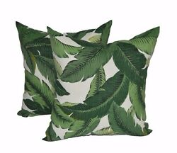 Set of 2 Outdoor 17quot; Square Pillows made w Tommy Bahama Palm Aloe Green Fabric