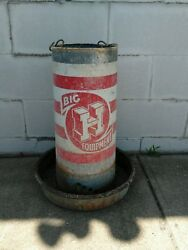 Vintage Big H Equipment Tube Chicken Feeder Galvanized Metal Honegger Feed Chain