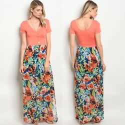 NWT Small Women's Floral Maxi Dress Summer Boutique Top $38.00