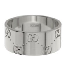 Gucci 18K White Gold Icon Engraved Band Ring Size 5.85 Brand New In The Box