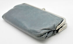 HOBO INTERNATIONAL DISTRESSED LEATHER DOUBLE FRAME LAUREN CLUTCH WALLET
