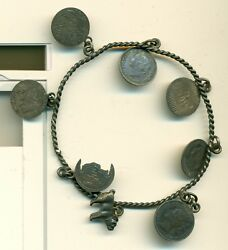 Family Love Token Bracelet Victorian Coins Mostly Canada 7 Pieces 1 Dog C. 1890