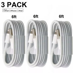 3 PACK 6FT USB Data Charger Cables Cords For Apple iPhone 5 S 6 7 8 X Plus
