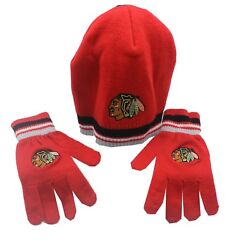 Chicago Blackhawks Nhl Youth Boys One Size Fits Most Beanie And Gloves Combo Set