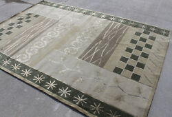 R136 Gorgeous Green Color Wool And Silk Tibetan Area Rug 6' X 9' Handmade In Nepal