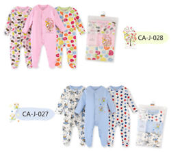 Footed Pajamas Sleeper For 0-6 Months 3 Packs Infant Cotton Long Sleeve Jumpsuit