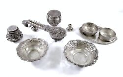Lot Of Antique Middle Eastern Silver Bowls Jars Ornate Sitar Box - 1274 Grams