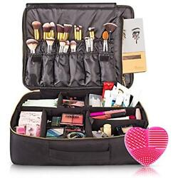 Large Cosmetic Bags Travel Makeup - CRACK-PROOF Dividers Big Professional Up For