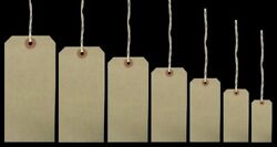 Brown Strung Tie On Tags String Luggage Labels Wedding Craft Gift 120mm X 60mm