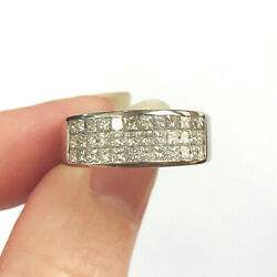 1.25 Ctw Natural Diamond Solid 14k White Gold Invisible Wedding Band Ring Unisex