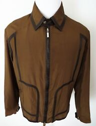 4360 Brioni Brown Lightweight Silk With Leather Trim Jacket Coat 52 Euro Large