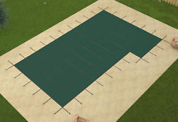 Gli Rectangle Mesh Swimming Pool Safety Cover W/ 4x8 Right Flush And Wood Anchors