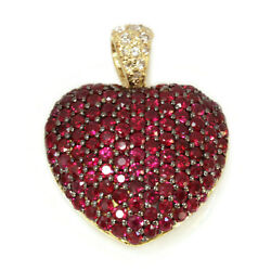 5 Ctw Natural Red Ruby And Diamond Solid 14k Yellow Gold Dome Heart Pendant 30 Mm