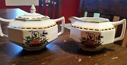 Wood And Sons Ltd. Sugar Bowl And Creamer Ca. 1910's With Flower Buckets