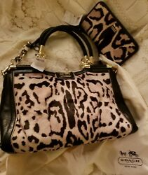 NWT~GOLDNAT COACH MADISON PINACLE CARRIE LEATHER & CALF HAIR PURSE BAG & WALLET