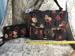 Coach Limited Edition Black Floral Jewel Bag And Wallet NWT  RARE