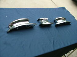 1946-48 Lincoln Rear Bumper Guard Ends And Center Ornament Re-chromed