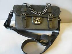 WOMENS CHANEL PARIS-BOMBAY BLACKGRAY LEATHER BACK TO SCHOOL MESSENGER BAG