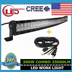 52inch 300w Curved Led Light Bar Combo Offroad Suv Boat Ford With Wire Harness