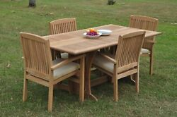 5pc Grade-a Teak Dining Set Warwick Folding Rectangle Table Wave Stacking Chair