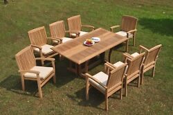 9pc Grade-a Teak Dining Set Warwick Console Rectangle Table Wave Stacking Chair