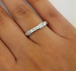 14K Solid White Gold .25 CT Round Baguette Cut Diamond Wedding Band Anniversary $161.69