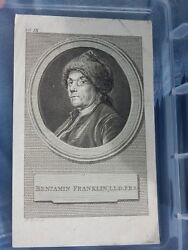 1700s Engraving Benjamin Franklin By George E. Perine After Cochin Portrait
