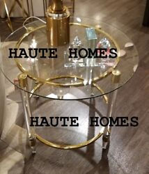 New Designer Gold Plate Finish Clear Legs Glass Top Round Accent End Table