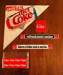 Vintage Lot Of 5 Coca-cola In-store Point Of Purchase Stickers/signs