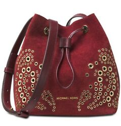 ❤️Michael Kors Cary Small Suede MaroonGold Bucket Bag