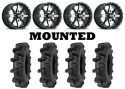 Kit 4 Interco Interforce Ii Tires 30x9-14 On Itp Cyclone Matte Black Wheels Can