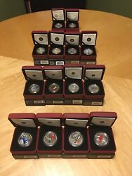 Birds Of Canada 2007-2014 Complete Set Of 14 Oversized 25c Coloured Coins +coa's