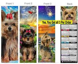 3 Lot-YORKSHIRE TERRIER 2019 CALENDAR BOOKMARK Dog Yorkie Mix Silky Perfect Gift
