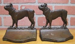 Antique Pair B&H Bulldog Boston Terrier Dog Bookends Bronze Bradley & Hubbard