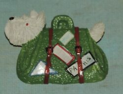 Vintage Celluloid Pin Brooch White Terrier Dog in Carrier Bag w Travel Labels
