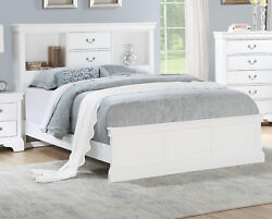 Bedroom White Solid Pine Wood Cal King Size Bed Unique Storage Modern Bedframe