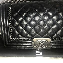 NIB AUTH. CHANEL QUILTED BLK BOY JACKET OLD MED. CALFSKIN DISTRESSED LEATHER