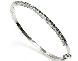 2.2 Ctw Natural Blue And White Diamond Solid 14k White Gold 3mm Oval Bangle 6.5