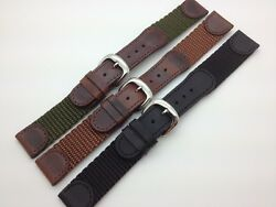 16mm 18mm 20mm Ms866 Hadley Roma Genuine Leather Nylon Watch Band Fit Swiss Army