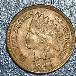 1894 Indian Head Penny 1 Cent Full Diamonds And Liberty Excellent Us Coin