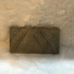 Kate Landry Bronze Mettalic Pleated Clutch Evening Bag Hideaway Strap
