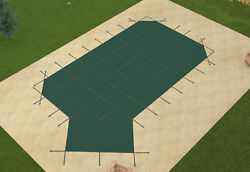 Loop Loc Grecian Green Mesh Swimming Pool Safety Covers W/ Right Offset Step