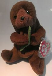 Ty Beanie Baby Seaweed The Otter No Number Or Star On Tush Tag With Pvc Pellets