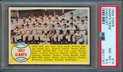 1958 TOPPS #19 GIANTS TEAM MAYS CHECKLIST PSA 8.5++ WITH 9 QUALITY!