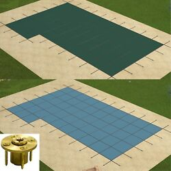 Gli Valuex Rectangle Solid Swimming Pool Safety Cover W/ Left Flush Step And Panel