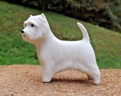 Ceramic porcelain dog figurine West Highland Terrier Westie small white bisque