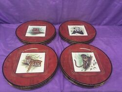 12 Vintage Lynn Chase Asian Views 9 China Salad Luncheon Snack Plates 24k Gold
