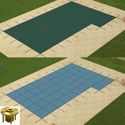 Gli Valuex Rectangle Solid Swimming Pool Safety Cover W/ Righ Flush Step And Panel